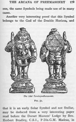 Alleged picture of an ancient idol that includes the hexagram